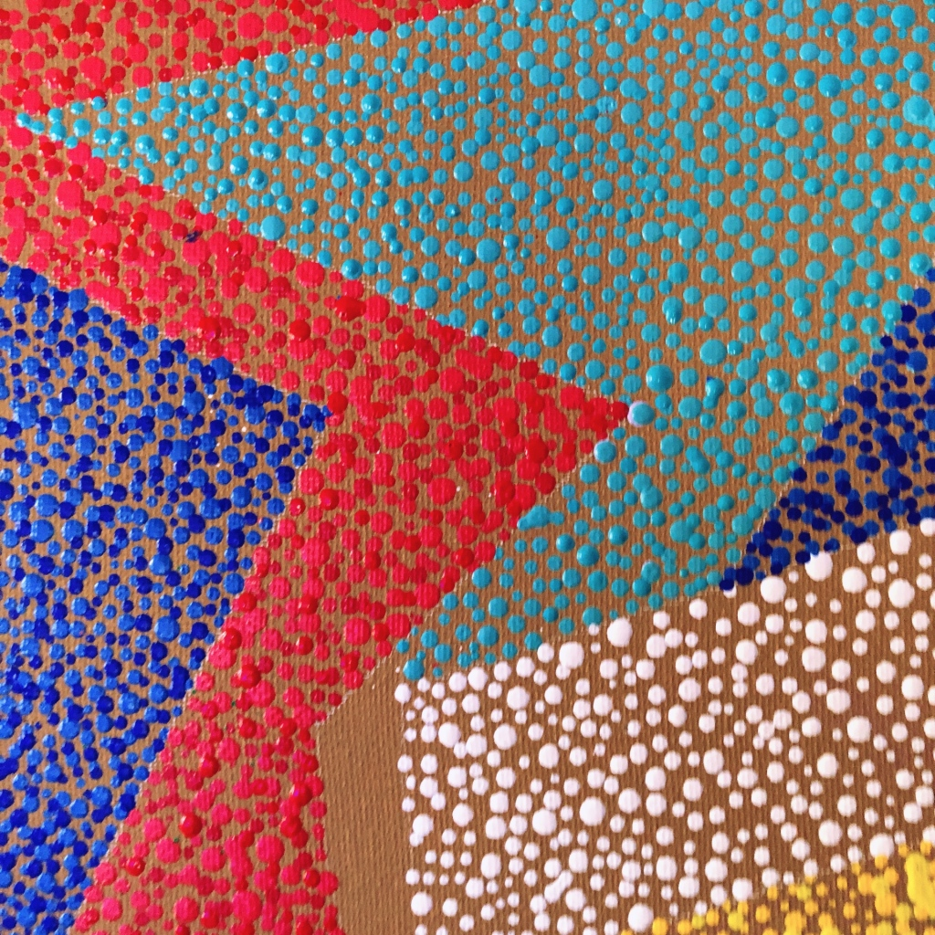 close up of dotted fine art painting