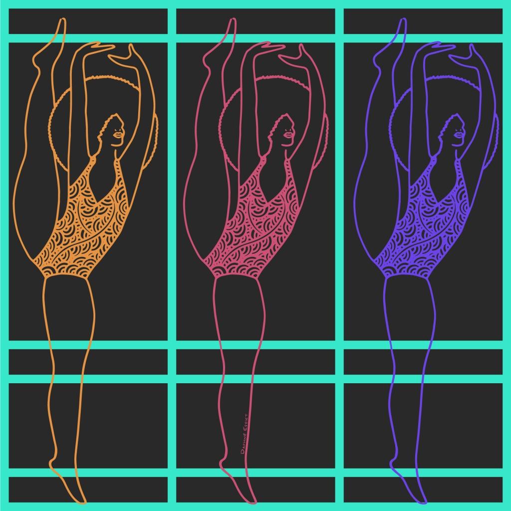 illustration of triplet women dancing with a large afro
