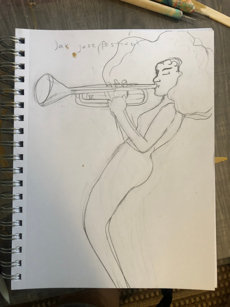 drawing of a woman playing the trumpet