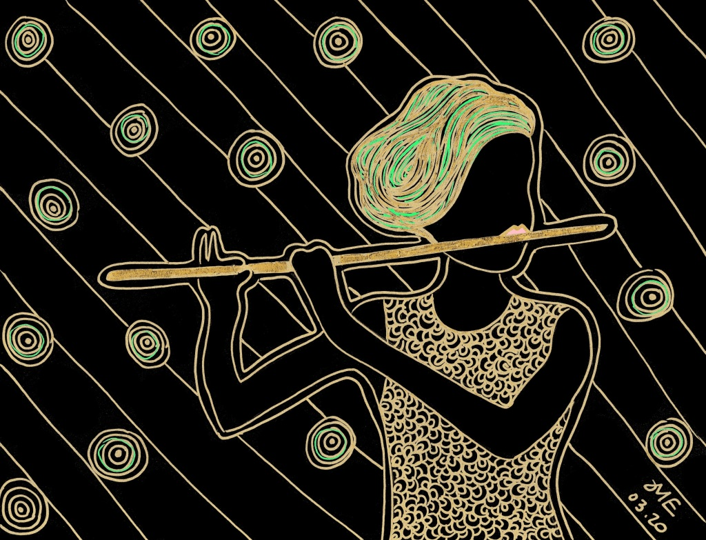 flutist anne drummond illustration in black and gold